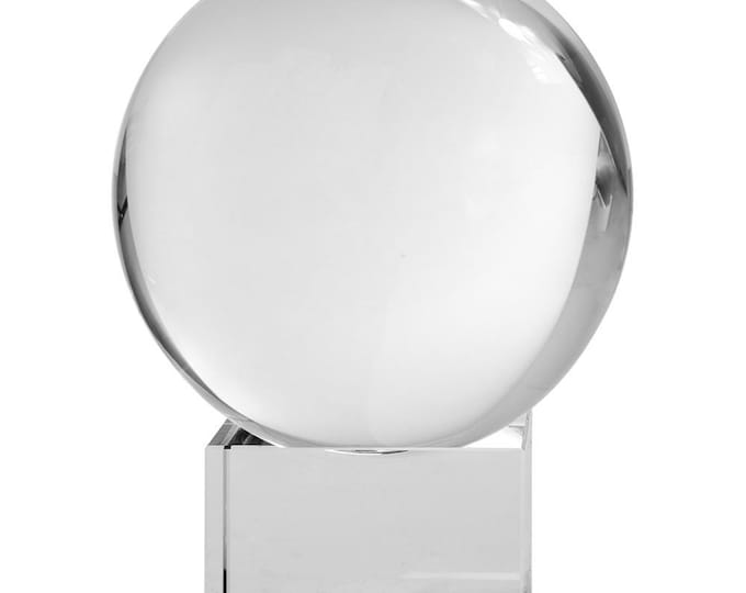 Large Crystal Ball w/ Glass Stand, 4 inches Gazing Sphere / Wicca Divining Tool