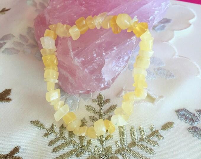 Yellow Calcite Bracelet / Chakra Crystal Healing Bracelet with Reiki