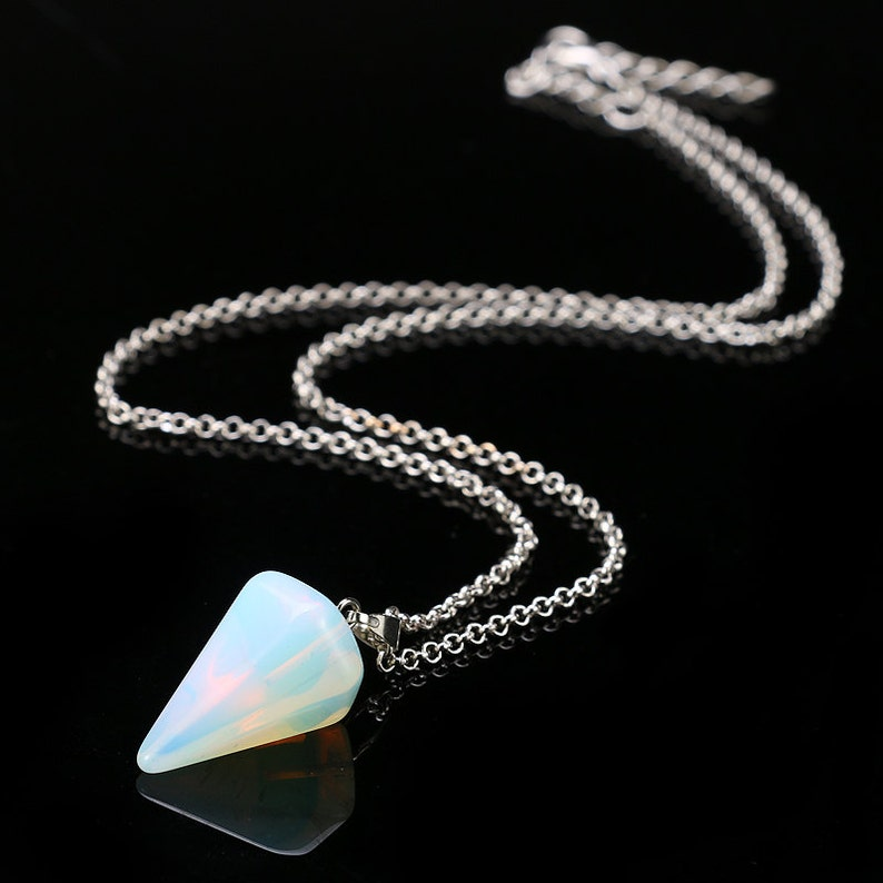 Opal Pendulum Necklace Set Healing Crystals Charged with Reiki