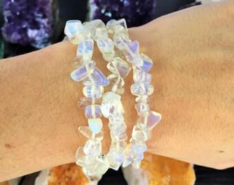 Opalite / Moonstone Bracelet w/ Reiki/ Healing Crystal Jewelry