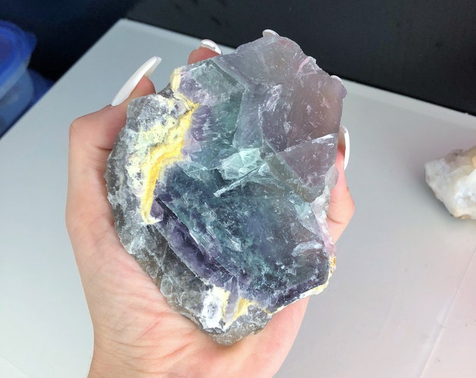Large Rainbow Fluorite Raw Crystal Stone Perfect Bojo Home Decor