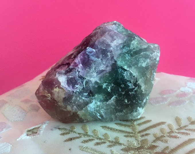 Green, Rainbow Fluorite RAW LARGE Healing Crystal Stones with Reiki