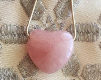 Rose Quartz Heart Healing Pendant JNecklace with Reiki
