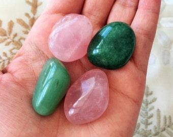 Love Crystals SET of 4 Stones, Rose Quartz and Green Aventurine