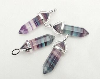 Pendulum Crystal Necklace / Rainbow Fluorite Crystal Pendant