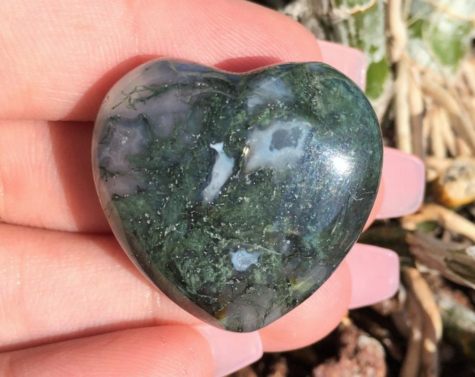 Moss Agate Heart infused with Love and Reiki/ Healing Crystals and Stones