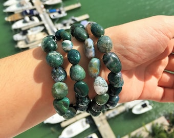 Moss Green Agate Bracelet/Healing Crystal and Stone Jewelry infused w/ Reiki