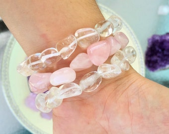Healing Crystal Bracelet / Rose Quartz Bracelet / Clear Quartz Jewelry