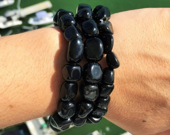 Black Obsidian Bracelet, Healing Crystals and Stones, Protection Amulet Stones, Black Obsidian Jewelry