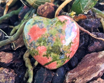 Unakite Crystal Heart infused with Love and Reiki/ Healing Crystals and Stones