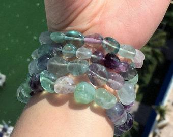 Fluorite Bracelet / Rainbow Fluorite Crystal Bracelets w/ Reiki / Green Fluorite Jewelry