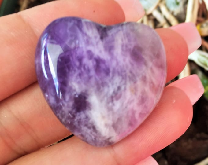 Amethyst Heart, Amethyst Crystal w/ Reiki/ Healing Crystals and Stones