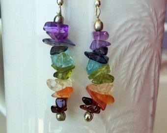 Chakra Earrings- Crystal Dangling Earring Pair / Healing Crystals