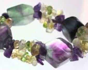 Fluorite Crystal Bracelet w/ Reiki / Rainbow Fluorite Jewelry / Healing Crystals and Stones Bracelet Jewelry