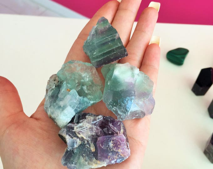 Rainbow Fluorite Green / Purple Fluorite RAW Crystals and Stones