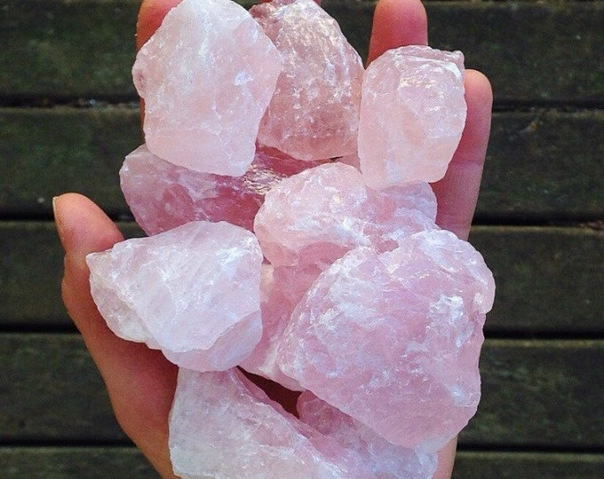 2 Raw Rose Quartz Chunks w/ Reiki, Rose Quartz Crystals and Stones