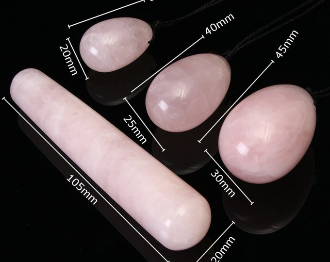 Yoni Crystal Wand  and Yoni Egg SET / Crystal Dildo / Rose Quartz Wand