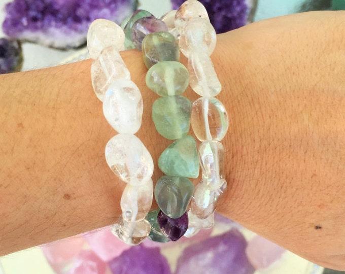 Healing Bracelet Jewelry SET w/ Clear Quartz and Rainbow Fluorite / Crystal Jewelry