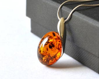 Baltic amber pendant etsy baltic amber pendant amber necklace amber jewelry silver amber pendant necklace minimalist necklace natural elegant pendant aloadofball Images