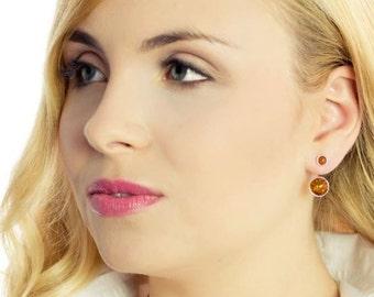 Amber Earrings, Amber ear jacket earrings, Gemstone double sided earrings, Fashion earrings