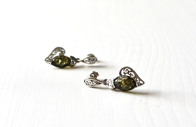 dangle amber earrings heart earrings amber jewelry green gemstone earrings love earrings green Amber Earrings amber love gift