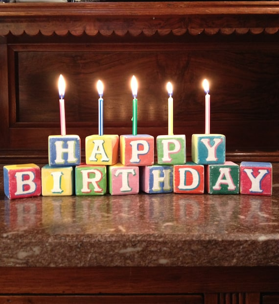 Happy Birthday Decoration Wooden Candle Holders