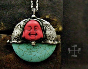 OCHNA • medieval buddah turquoise oxidized silver long necklace raw stone statement pendant