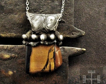BOGDALA • medieval tiger eye oxidized silver long necklace raw stone statement pendant