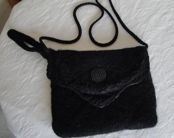 black evening bag, wool felt clutch bag, silk-lined clutch, felted knit clutch, three way clutch bag, felt clutch bag, felt evening purse