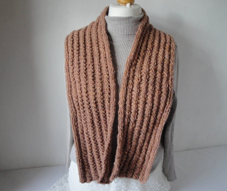 2cd2f7790e6 Cable knit scarf unisex muffler in soft orange pure wool