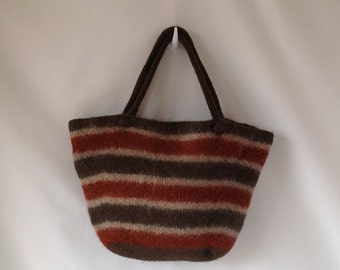 felted market bag in brown stripe knit in alpaca and wool