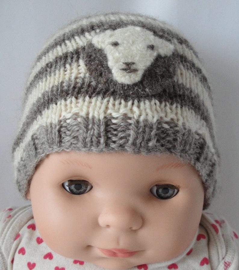 stripe knit baby cap age 0-3mths newborn knit hat with sheep-motif gender-neutral