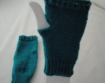 turquoise mittens, vegan hand-warmers, beaded texting mitts, sea-blue mitts, fingerless gloves, bead trim mitts, holiday gift, gift for her
