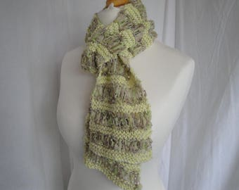 yellow knitted scarf, sparkle scarf, lightweight scarf, open knit neckwarmer, cotton mix scarf, tippet for spring, three seasons scarf