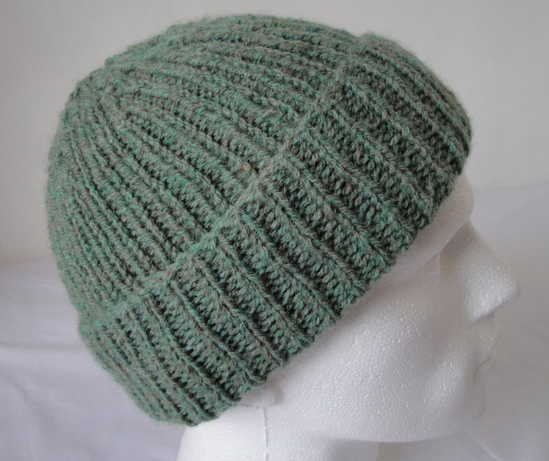 c7070b89277 Green rib knit hat for men hand-knitted beanie or watch cap