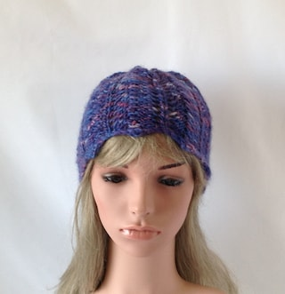 purple knit hand-dyed wool hat, mohair silk mix cap fingerless gloves separate