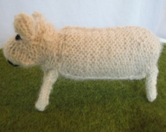 sheep ornament, knitted sheep, animal-lovers gift, CLEARANCE, Romney sheep, sheep item, collectible sheep, animal knit, woolly sheep model