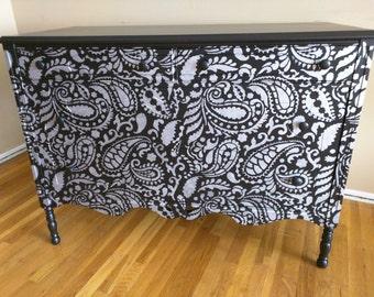Black Dresser in Silver Paisley Design