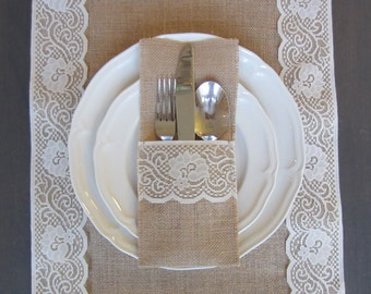 Burlap silverware cutlery holders - Set of 10 - burlap and ivory lace table setting for weddings & Set of 200 Burlap Silverware Holder wish white lace and bow