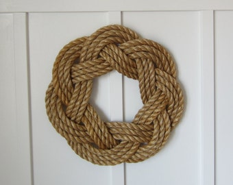 Rope wreath - Nautical wreath - Maritime wreath - handmade sisal wreath - knotted wreath - Celtic design - Coastal Hamptons minimalist decor