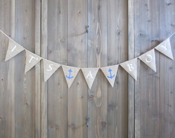 It's a boy burlap banner with blue anchors - burlap pennant - birth announcement bunting
