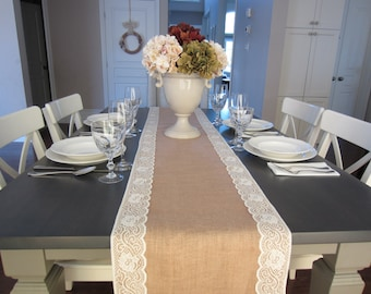 """Burlap and ivory lace table runner - wedding table runner - rustic wedding - 14"""" wide"""