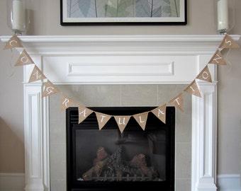 Congratulations banner - burlap pennant - burlap bunting