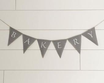 Bakery burlap banner - grey burlap  banner - farmhouse kitchen decor - mama's kitchen - culinary gift
