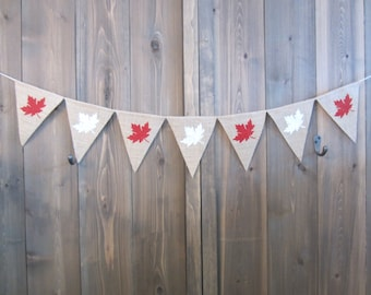 Maple leaf burlap banner - Canada Day banner - burlap pennant - Canada Day decor - burlap bunting