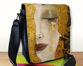Golden Tears Klimt Painting Small Shoulder Bag, Small Crossbody Bag, Small CrossBody Purse, Cross Body Bag, Small Purse, Gustav Klimt