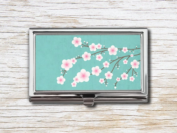 Cherry blossom business card case business card holder card etsy image 0 colourmoves