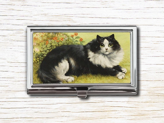 Black and white cat business card case business card holder etsy image 0 reheart Gallery
