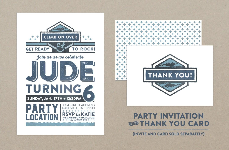 Rock Climbing Camping Birthday Party Invitation // Save The | Etsy
