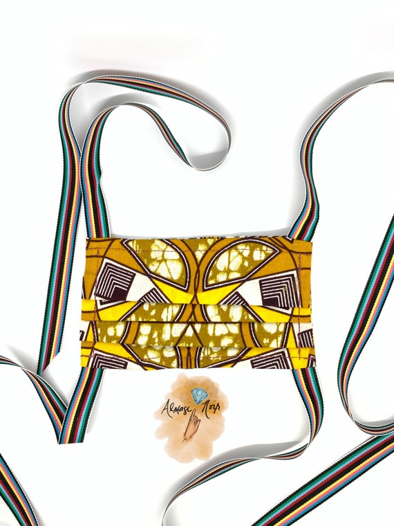 Waxed African Cotton - Double Layered Face Mask w/ Filter Pocket - Rainbow Ribbons